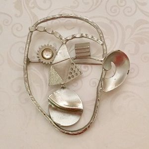 Jewelry - Industrial Boho Cubist Style Face Brooch